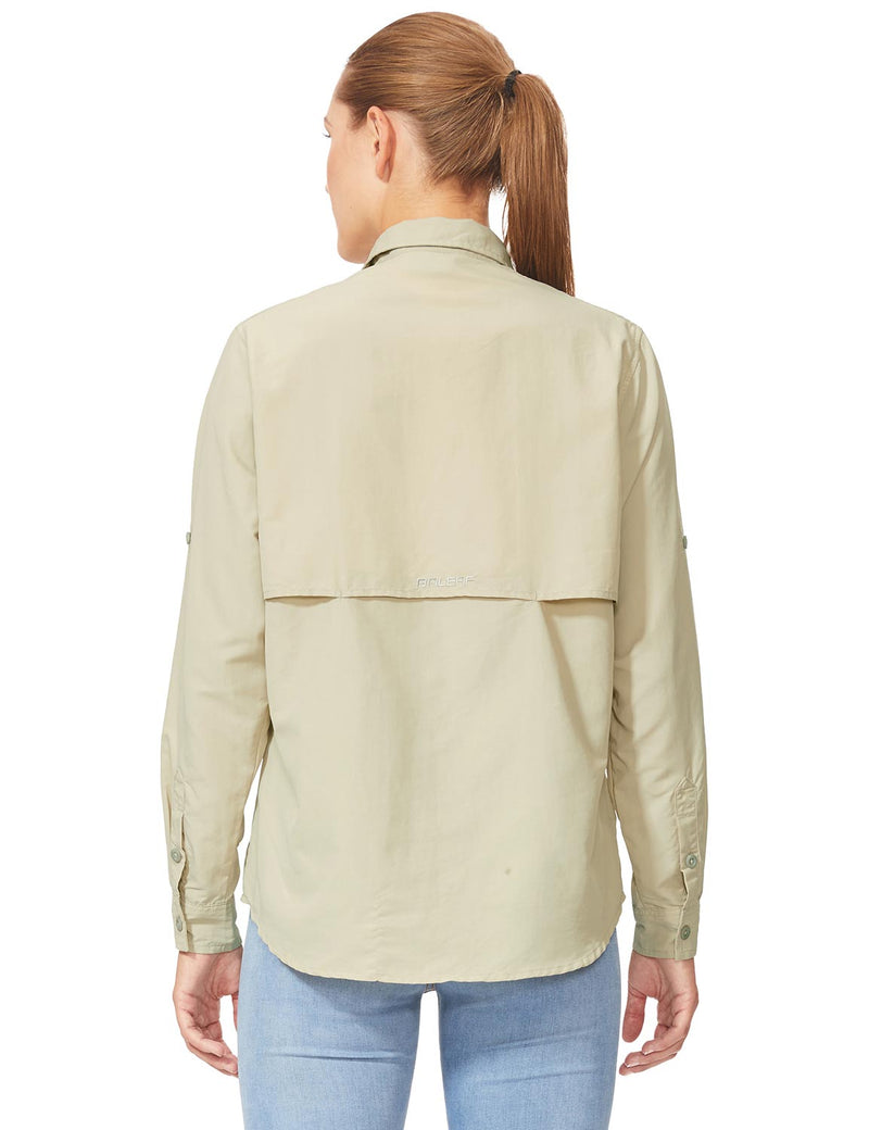 Baleaf Womens UPF 50+ Roll-Up Chest Pocketed Casual Long Sleeve Shirt khaki back