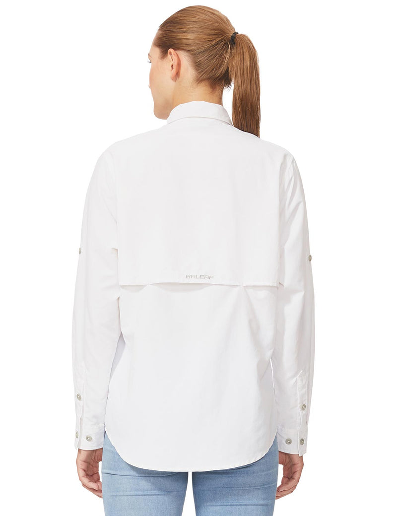 Baleaf Womens UPF 50+ Roll-Up Chest Pocketed Casual Long Sleeve Shirt white back