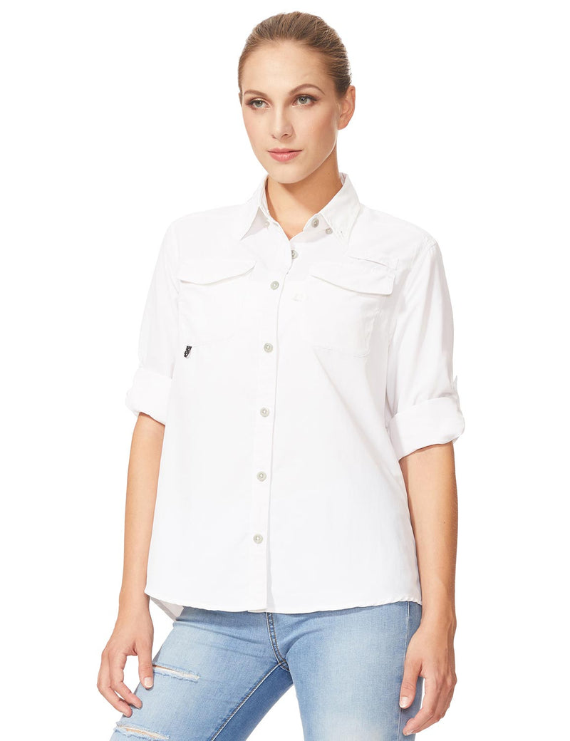 Baleaf Womens UPF 50+ Roll-Up Chest Pocketed Casual Long Sleeve Shirt white side