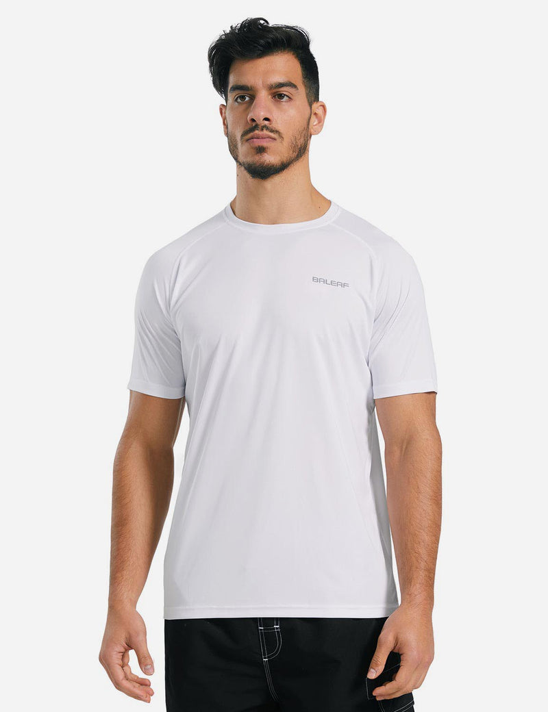 Baleaf Mens UPF 50+ Crew-Neck Casual T-shirt White details
