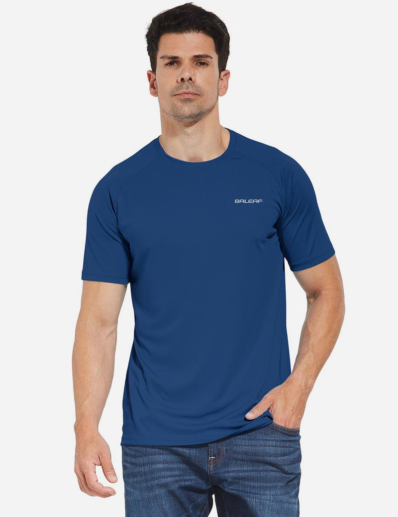 Baleaf Mens UPF 50+ Crew-Neck Casual T-shirt White back