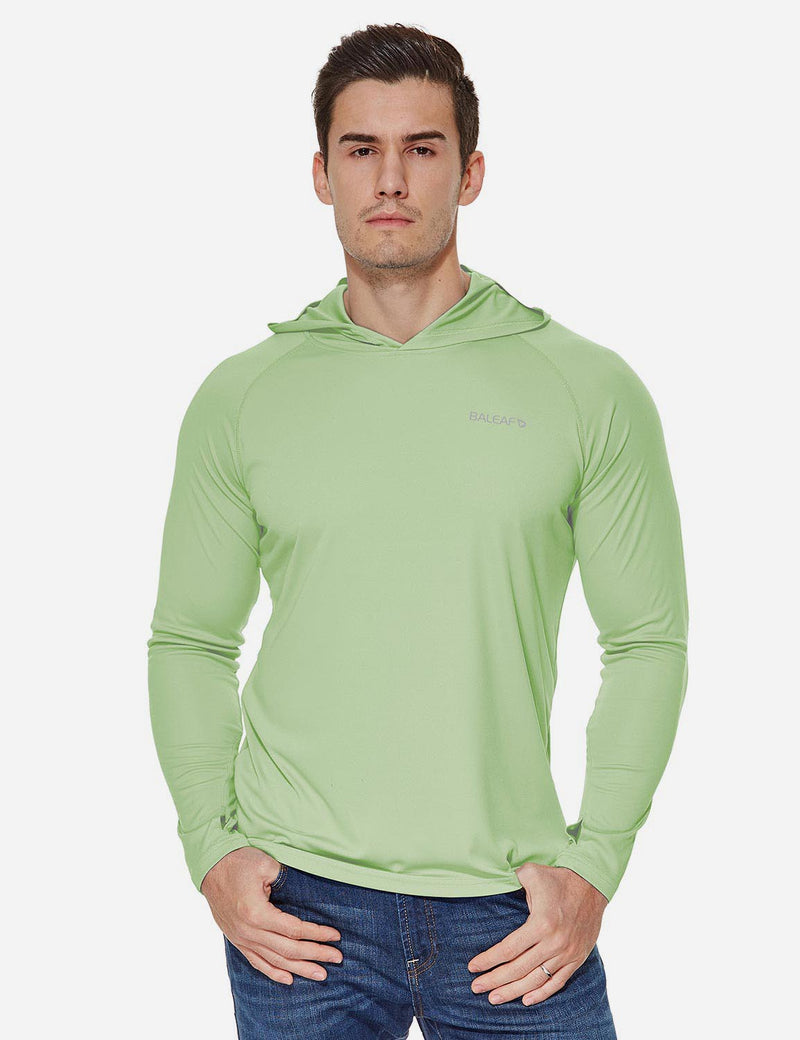 Baleaf Mens UPF50+ Hooded & Thumbhole Comfort Fit Long Sleeved Shirt Pale Green front