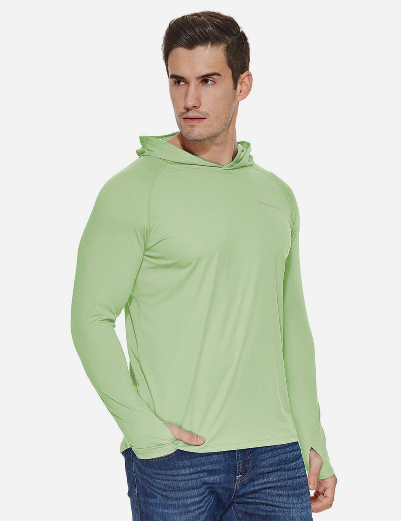 Baleaf Mens UPF50+ Hooded & Thumbhole Comfort Fit Long Sleeved Shirt Pale Green side