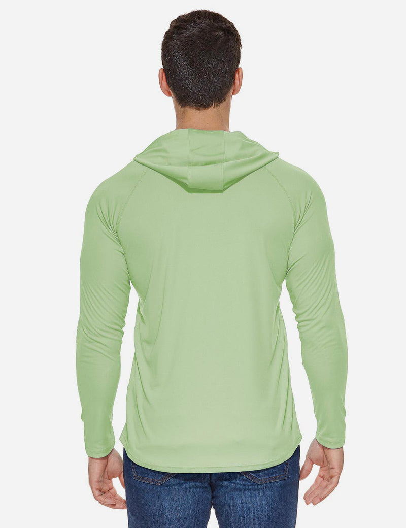 Baleaf Mens UPF50+ Hooded & Thumbhole Comfort Fit Long Sleeved Shirt Pale Green back