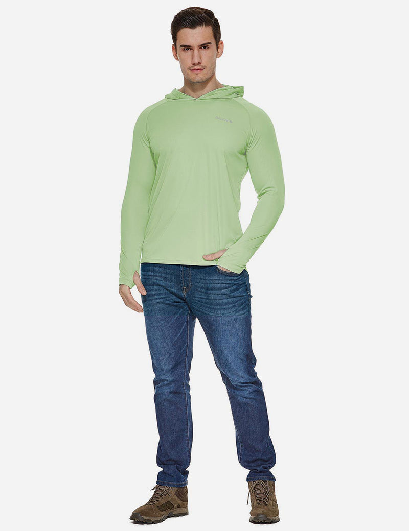Baleaf Mens UPF50+ Hooded & Thumbhole Comfort Fit Long Sleeved Shirt Pale Green full