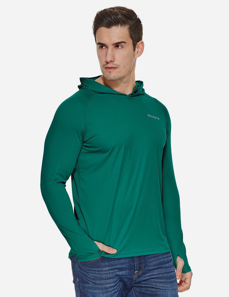 Baleaf Mens UPF50+ Hooded & Thumbhole Comfort Fit Long Sleeved Shirt Emerald side