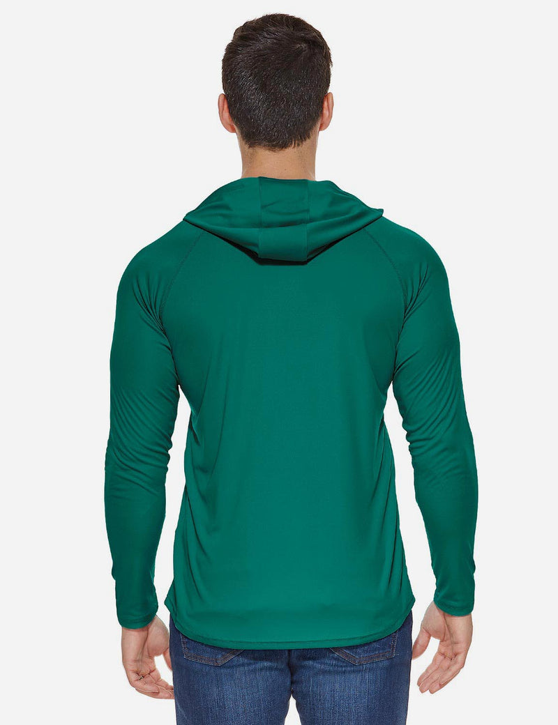 Baleaf Mens UPF50+ Hooded & Thumbhole Comfort Fit Long Sleeved Shirt Emerald back