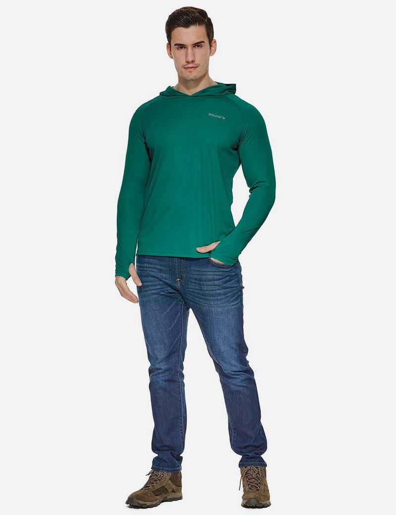 Baleaf Mens UPF50+ Hooded & Thumbhole Comfort Fit Long Sleeved Shirt Emerald full