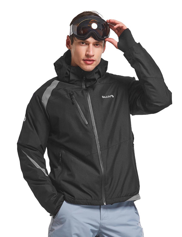 Baleaf men's Wind- & Waterproof Full-Zip Storm-Hood Thermal Jackets Black front