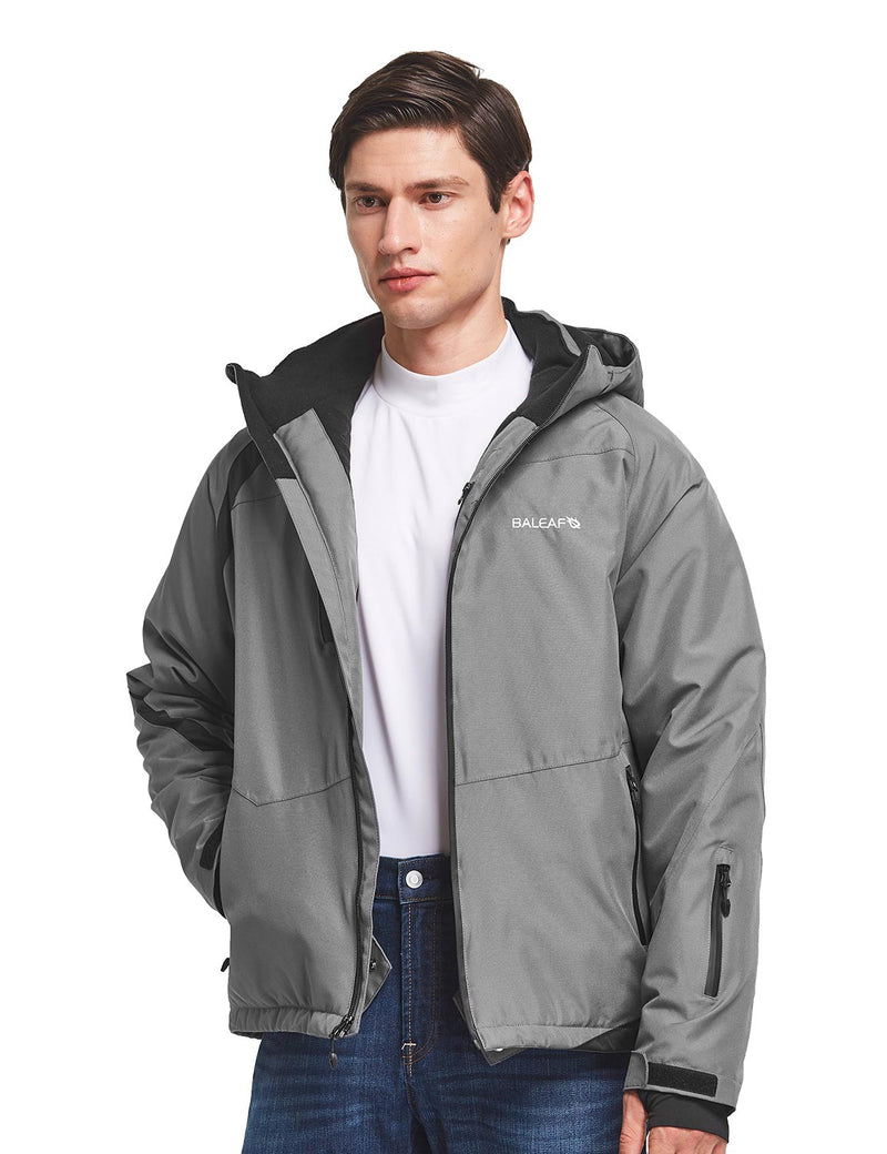 Baleaf men's Wind- & Waterproof Full-Zip Storm-Hood Thermal Jackets Grey side