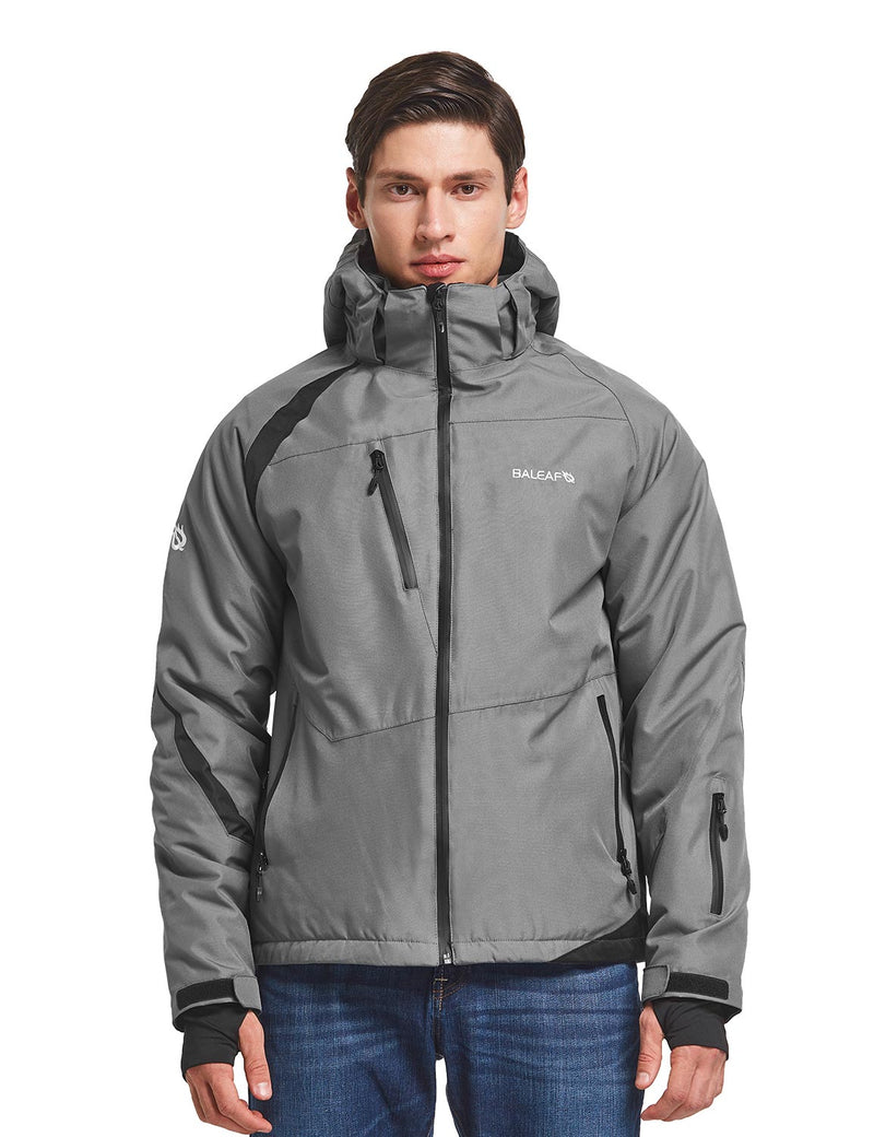 Baleaf men's Wind- & Waterproof Full-Zip Storm-Hood Thermal Jackets Grey Front