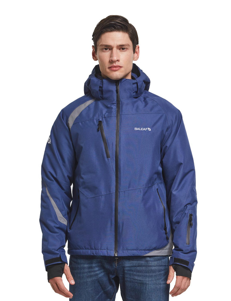 Baleaf men's Wind- & Waterproof Full-Zip Storm-Hood Thermal Jackets blue front