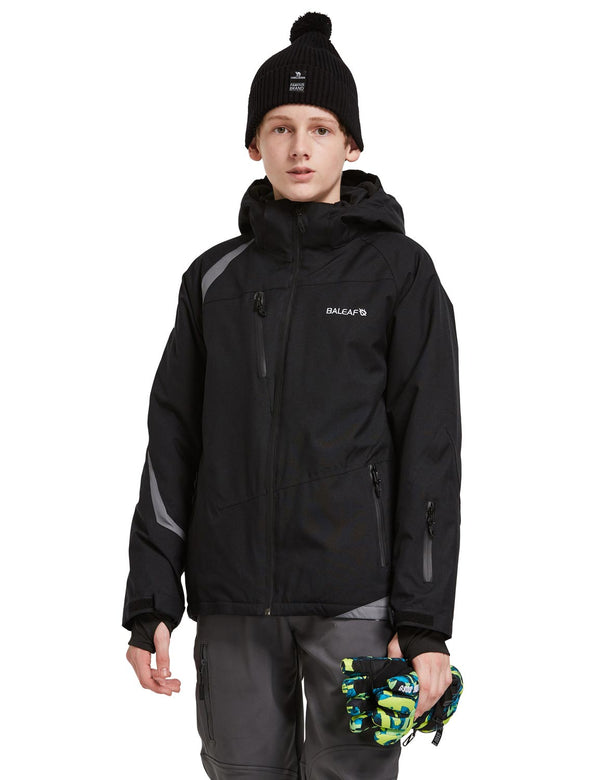 Baleaf Boys Thumb-Hole Brushed Jackets Black Front