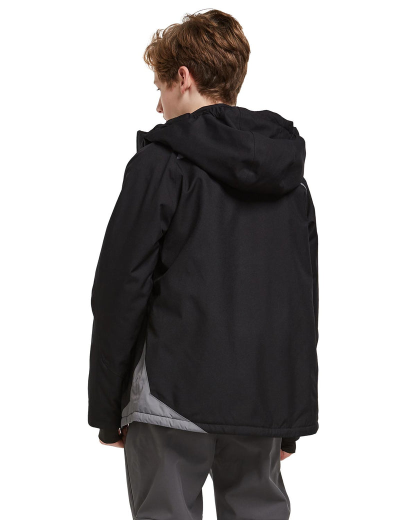 Baleaf Boys Thumb-Hole Brushed Jackets Black Back