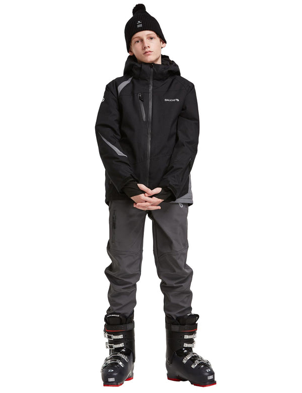 Baleaf Boys Thumb-Hole Brushed Jackets Black Full