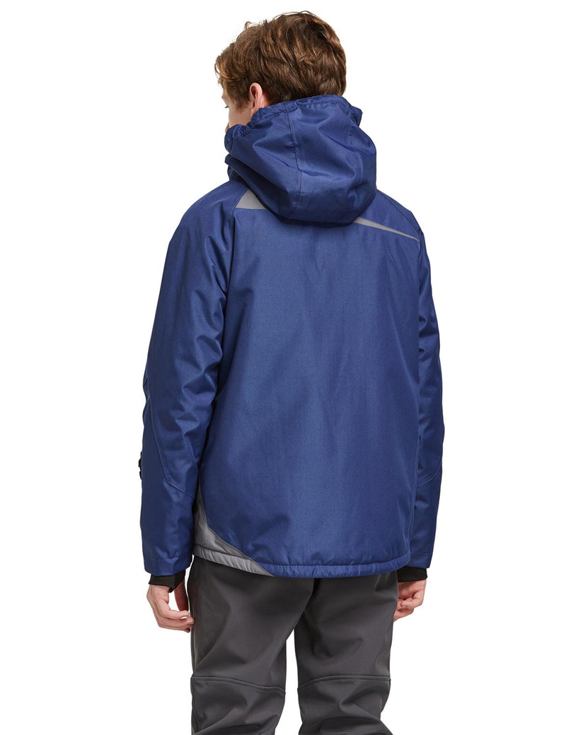 Baleaf Boys Thumb-Hole Brushed Jackets Dark Blue Back