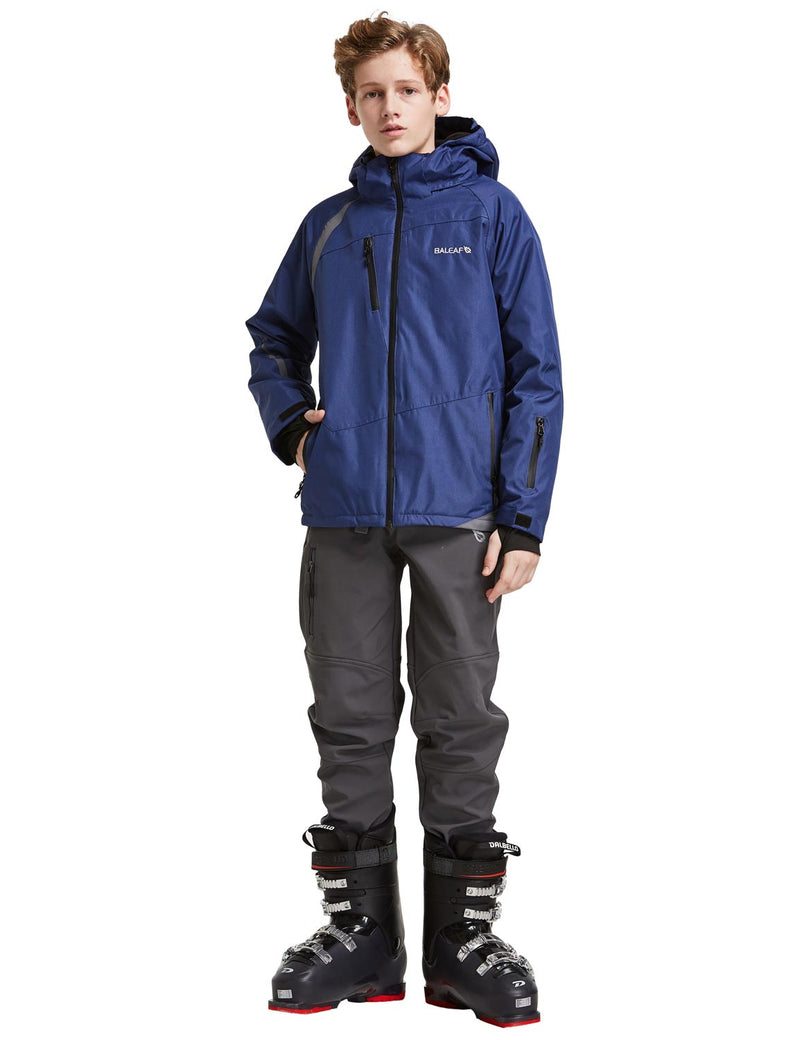 Baleaf Boys Thumb-Hole Brushed Jackets Dark Blue Full