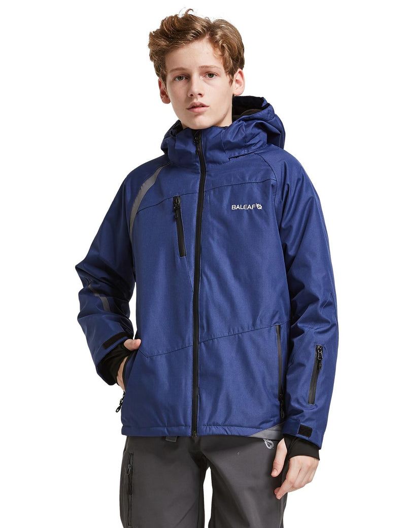 Baleaf Boys Thumb-Hole Brushed Jackets Dark Blue Front