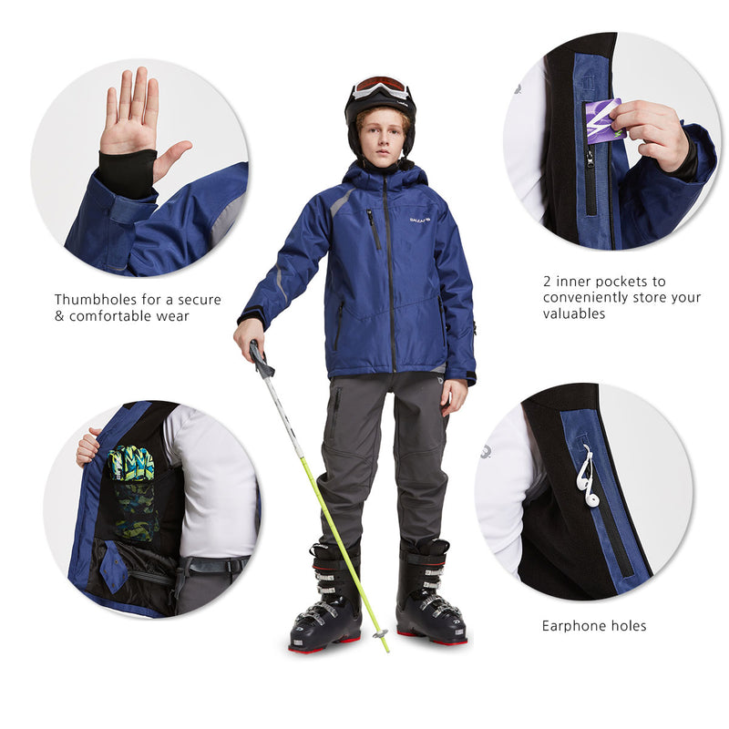 Baleaf Boys Thumb-Hole Brushed Jackets Dark Blue Details