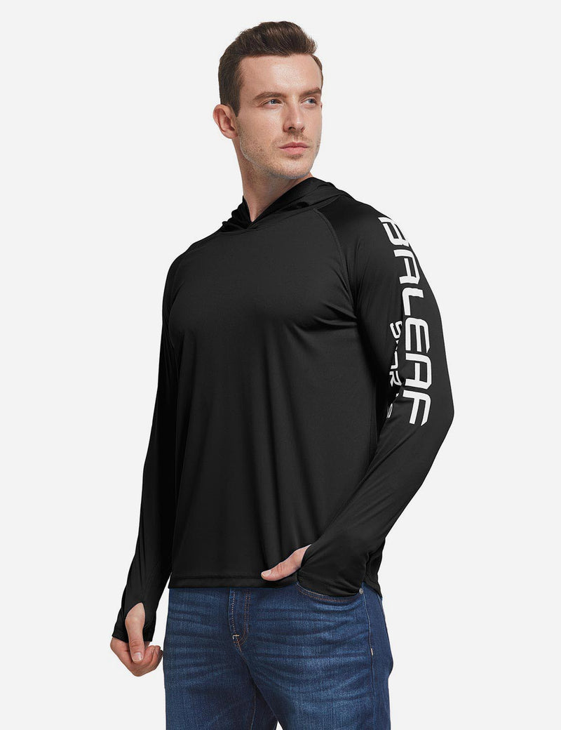 Baleaf Men's UPF 50+ Hooded Basic Printed Design Long Sleeve T Shirt black side