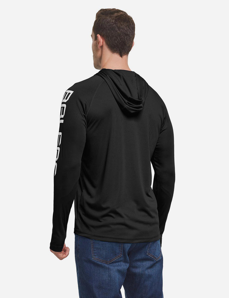 Baleaf Men's UPF 50+ Hooded Basic Printed Design Long Sleeve T Shirt black back