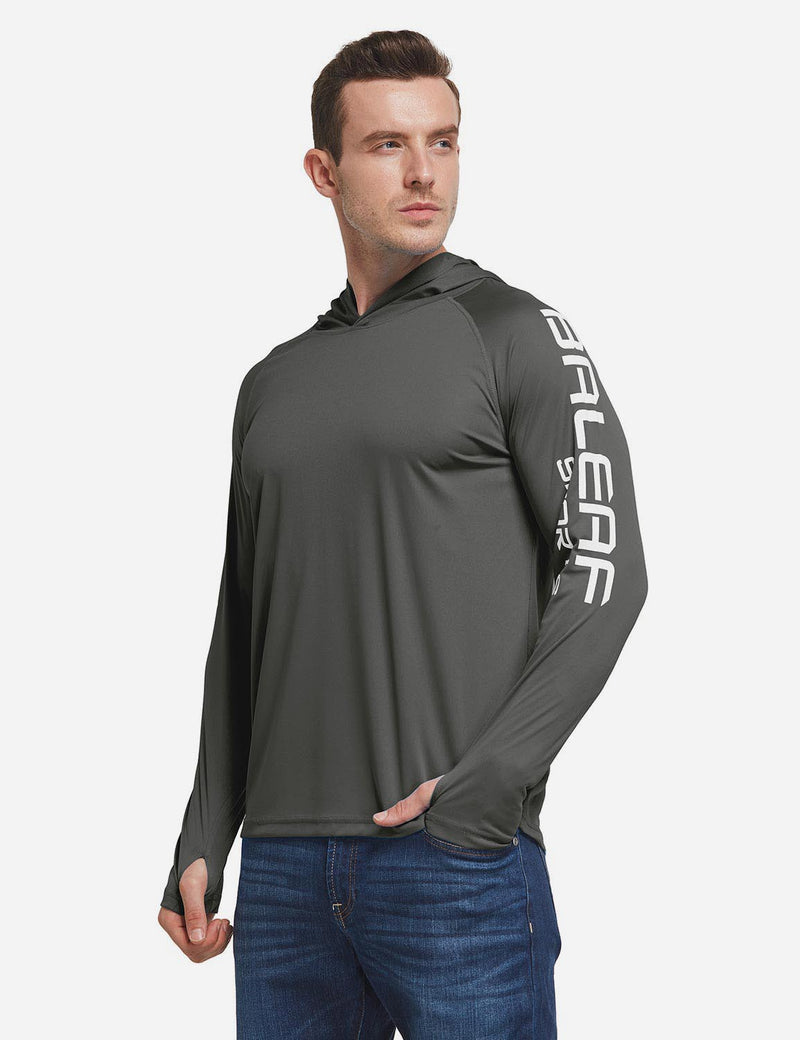 Baleaf Men's UPF 50+ Hooded Basic Printed Design Long Sleeve T Shirt deep gray side