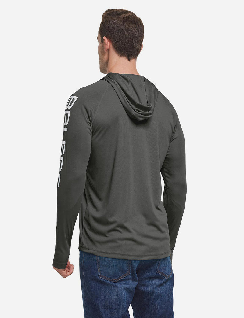 Baleaf Men's UPF 50+ Hooded Basic Printed Design Long Sleeve T Shirt deep gray back