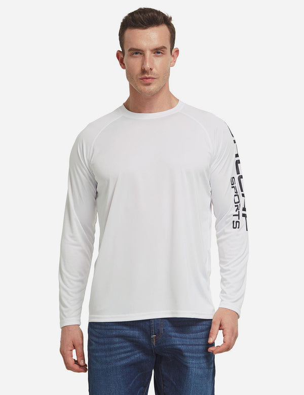 Baleaf Men's UPF 50+ Basic Printed Design Long Sleeve T Shirt White front