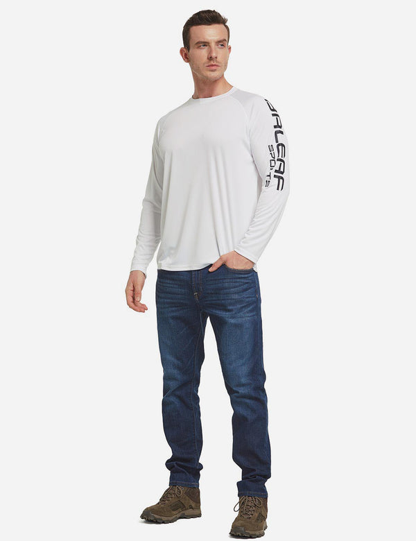 Baleaf Men's UPF 50+ Basic Printed Design Long Sleeve T Shirt White full