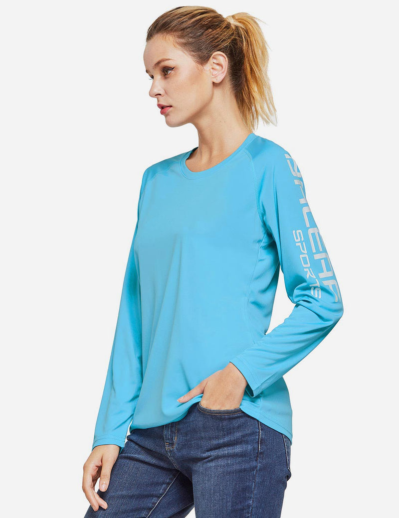 Baleaf Womens UPF50+ Long Sleeved Round Neck Casual T-Shirt Blue side