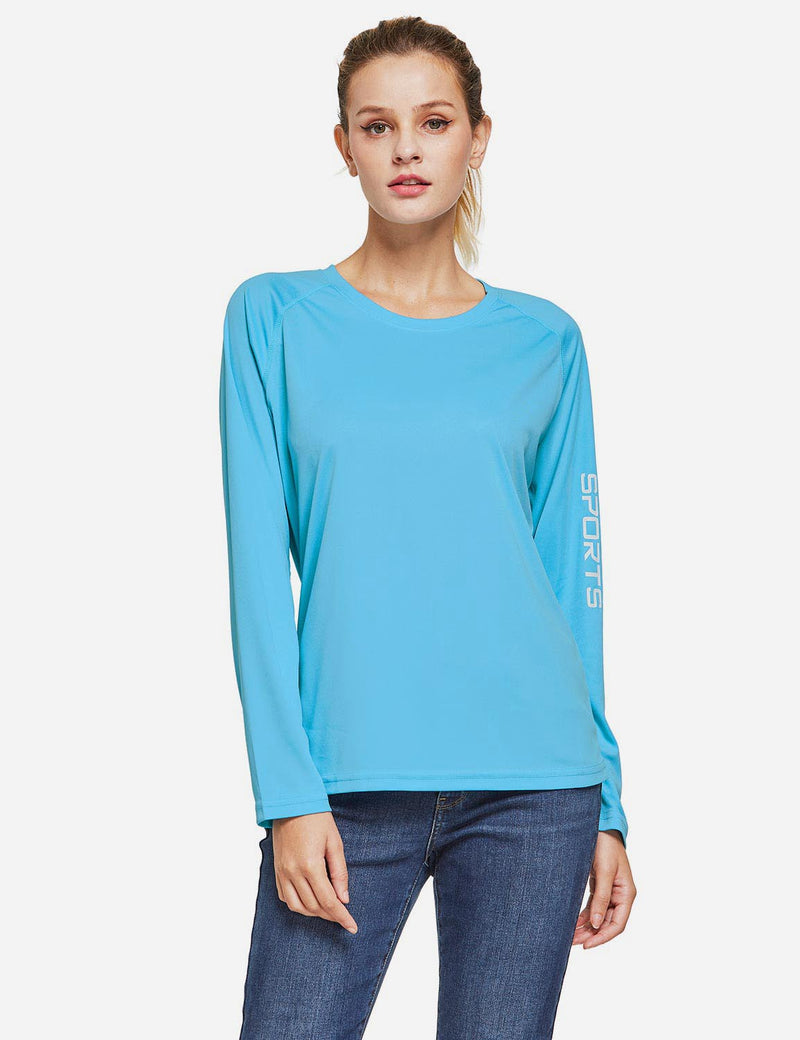 Baleaf Womens UPF50+ Long Sleeved Round Neck Casual T-Shirt Blue front