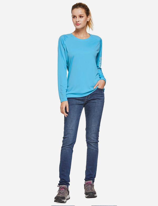 Baleaf Womens UPF50+ Long Sleeved Round Neck Casual T-Shirt Blue full