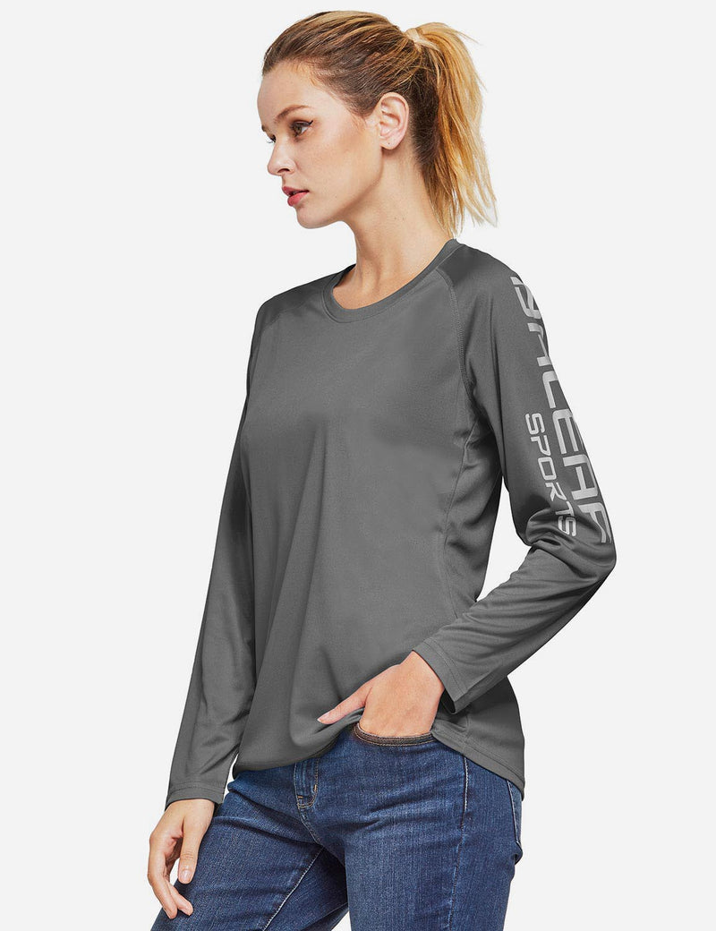 Baleaf Womens UPF50+ Long Sleeved Round Neck Casual T-Shirt Charcoal Gray side