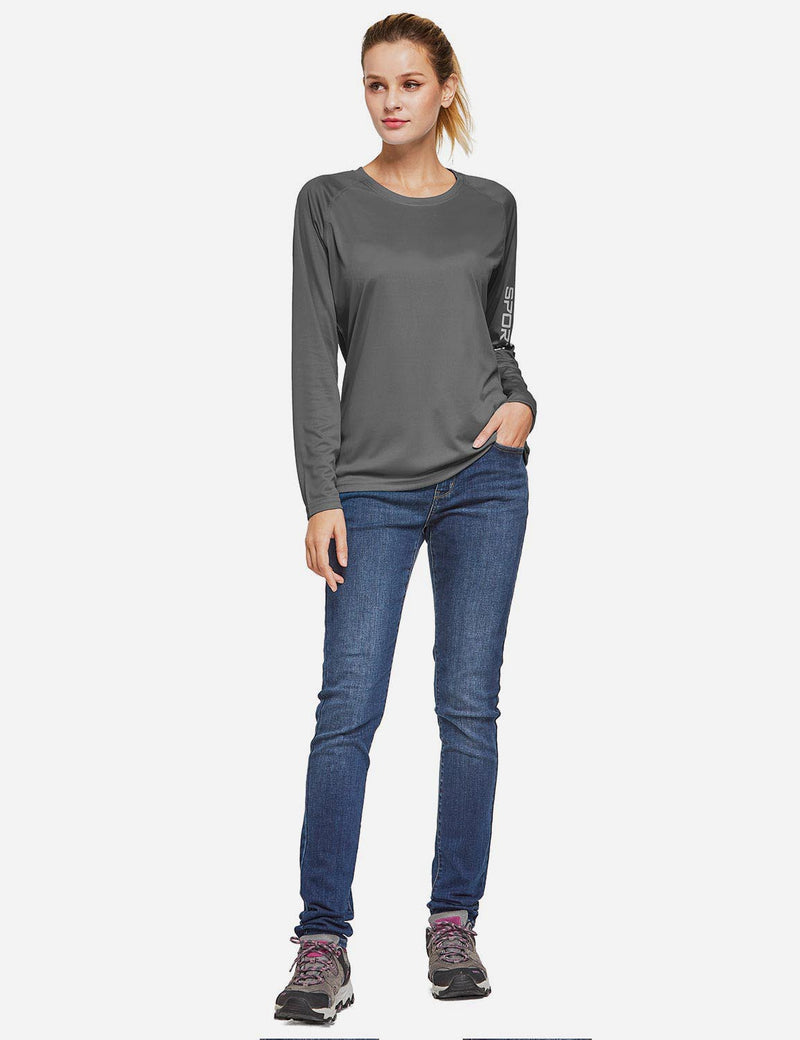 Baleaf Womens UPF50+ Long Sleeved Round Neck Casual T-Shirt Charcoal Gray full