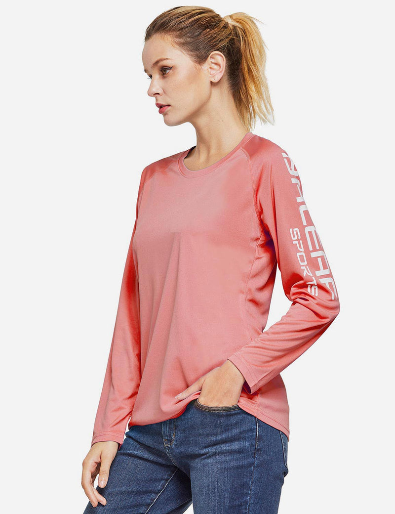 Baleaf Womens UPF50+ Long Sleeved Round Neck Casual T-Shirt Pink side
