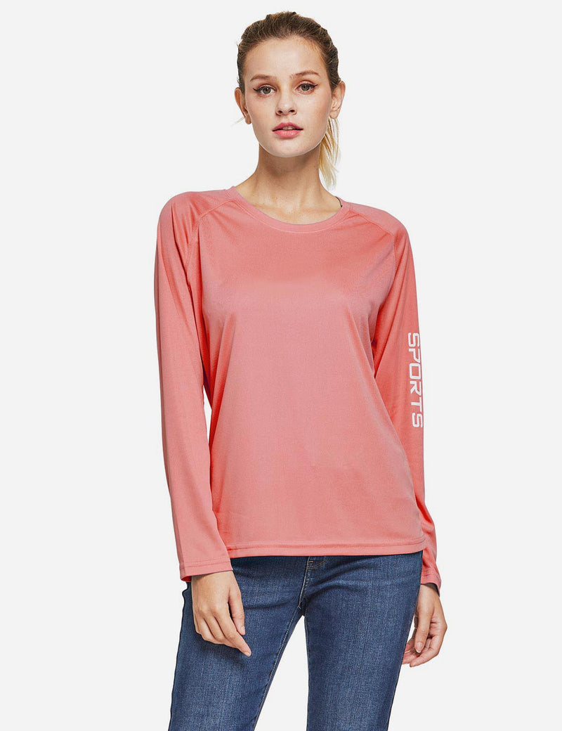 Baleaf Womens UPF50+ Long Sleeved Round Neck Casual T-Shirt Pink front