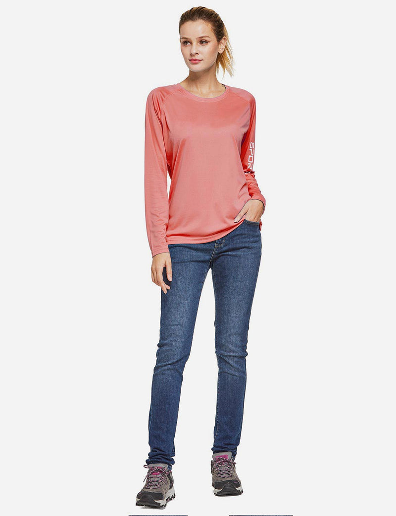 Baleaf Womens UPF50+ Long Sleeved Round Neck Casual T-Shirt Pink full