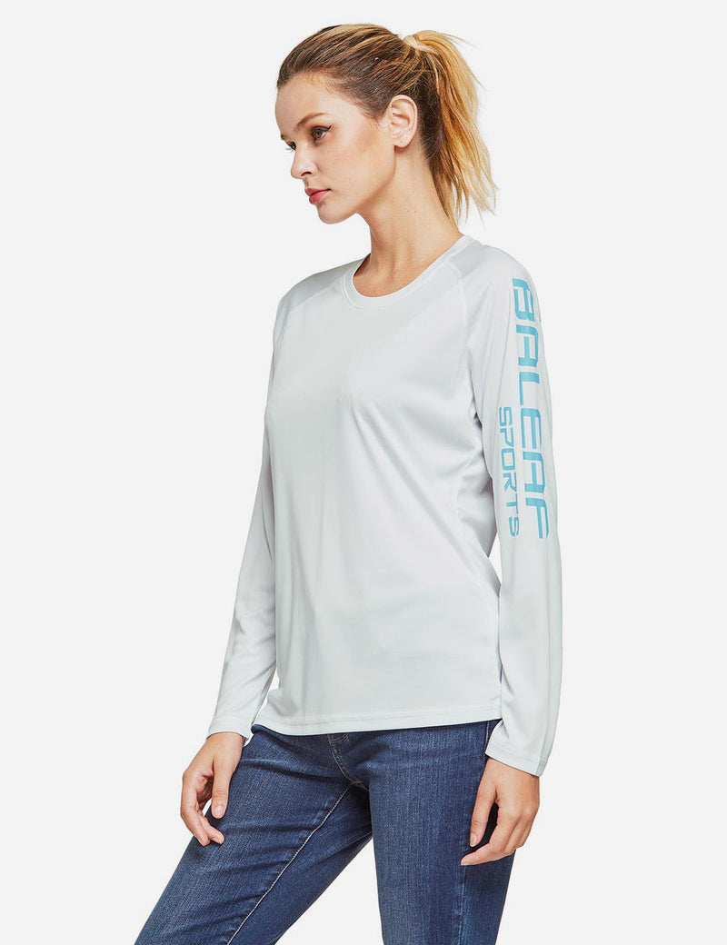 Baleaf Womens UPF50+ Long Sleeved Round Neck Casual T-Shirt White side
