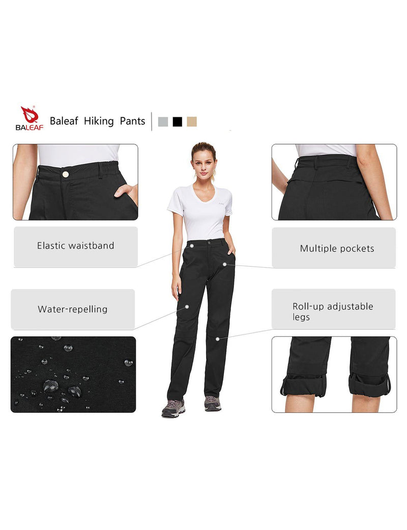 Baleaf Womens UPF50+ Waterproof Lightweight Roll Up Convertible Outdoor Pants Black details
