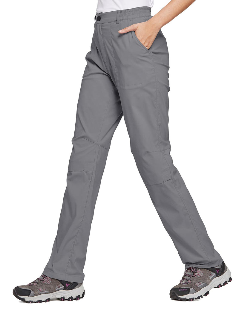 Baleaf Women's UPF 50+ Waterproof Lightweight Roll Up Outdoor Pants Dark Gray side