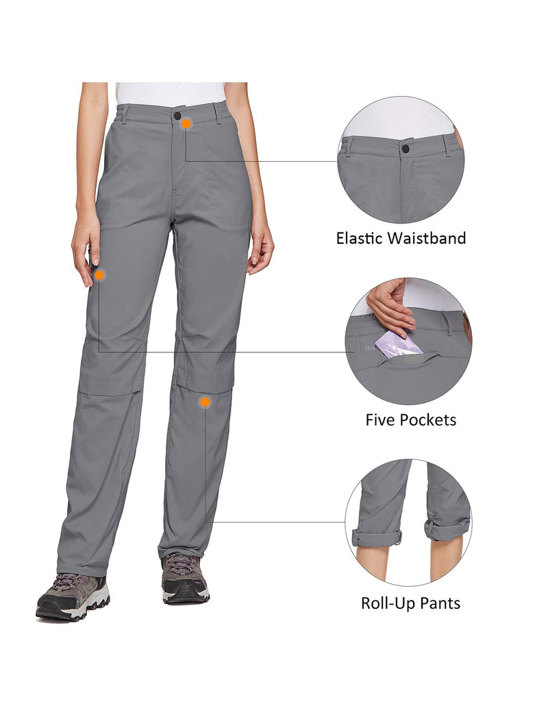 Baleaf Women's UPF 50+ Waterproof Lightweight Roll Up Outdoor Pants Dark Gray details