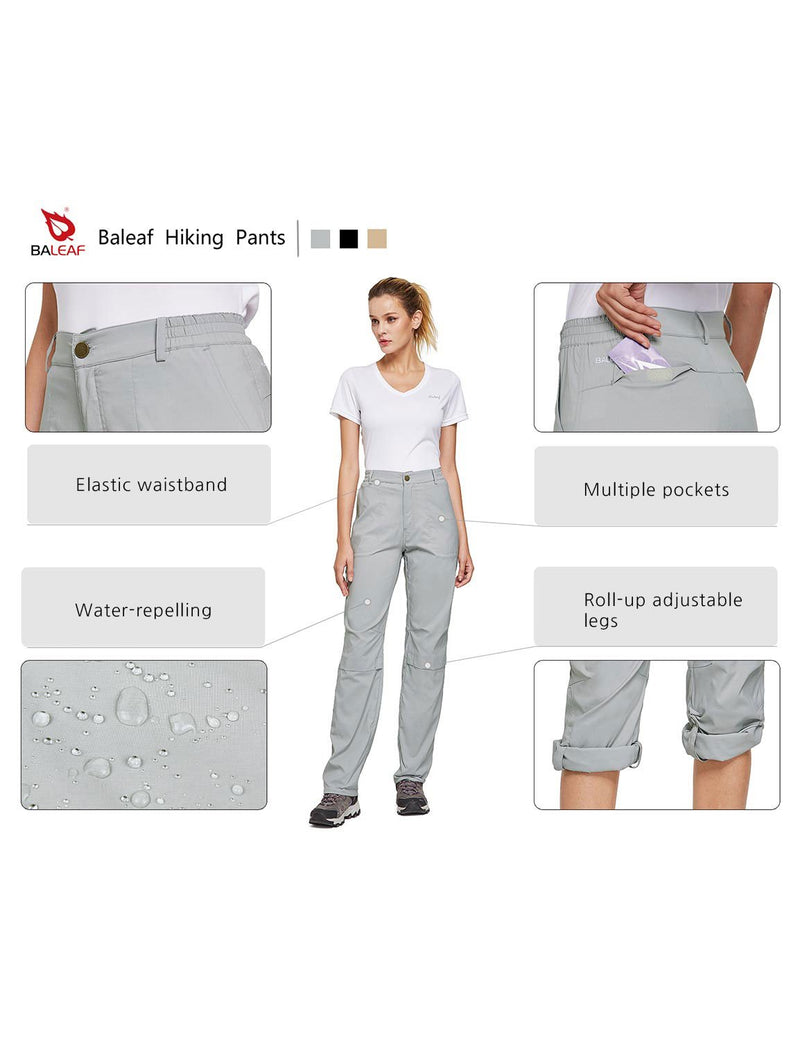 Baleaf Womens UPF50+ Waterproof Lightweight Roll Up Convertible Outdoor Pants Gray details