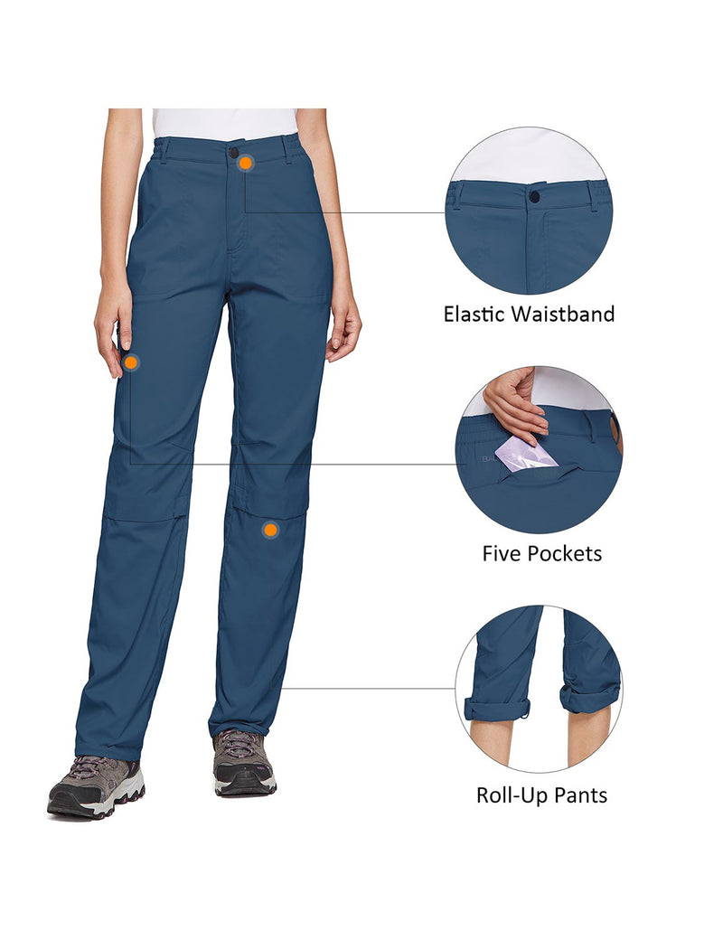 Baleaf Women's UPF 50+ Waterproof Lightweight Roll Up Outdoor Pants Navy Blue details