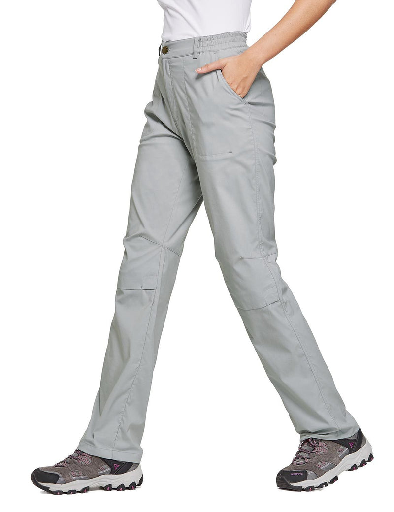 Baleaf Women's UPF 50+ Waterproof Lightweight Roll Up Outdoor Pants Gray Side