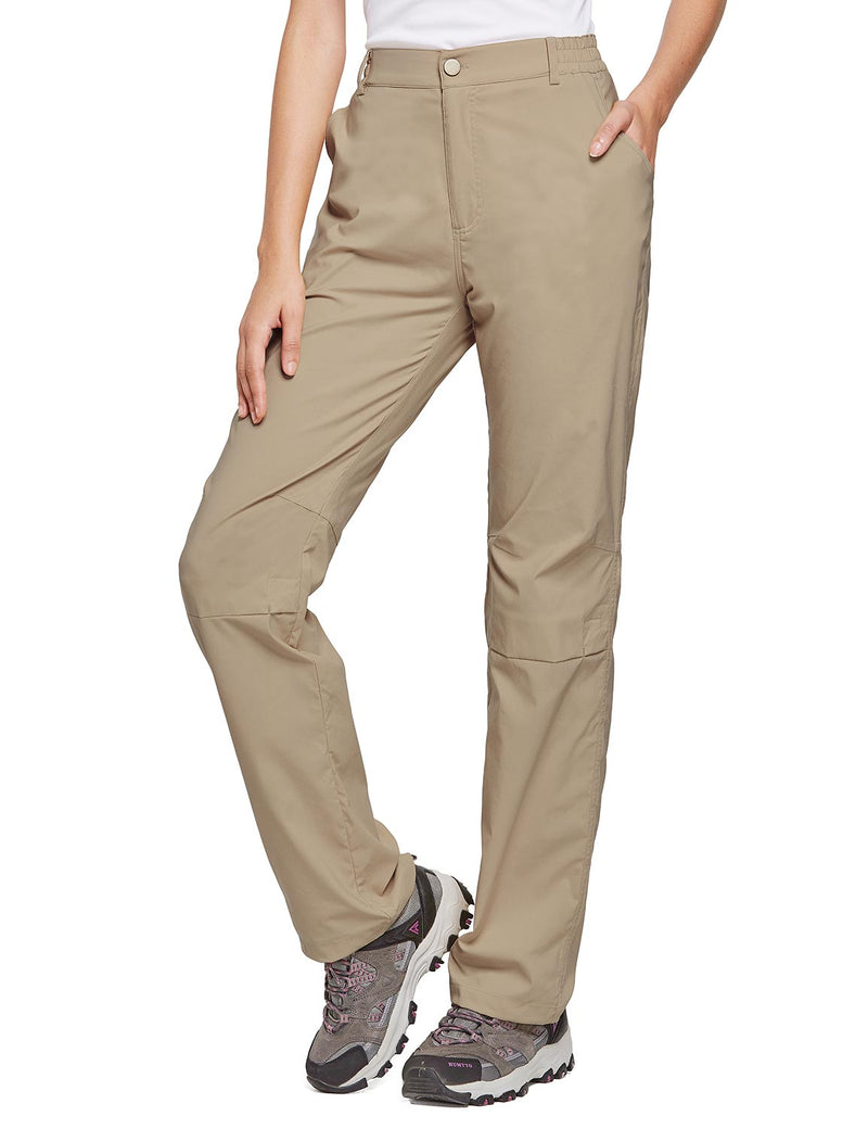Baleaf Women's UPF 50+ Waterproof Lightweight Roll Up Outdoor Pants New Khaki Front