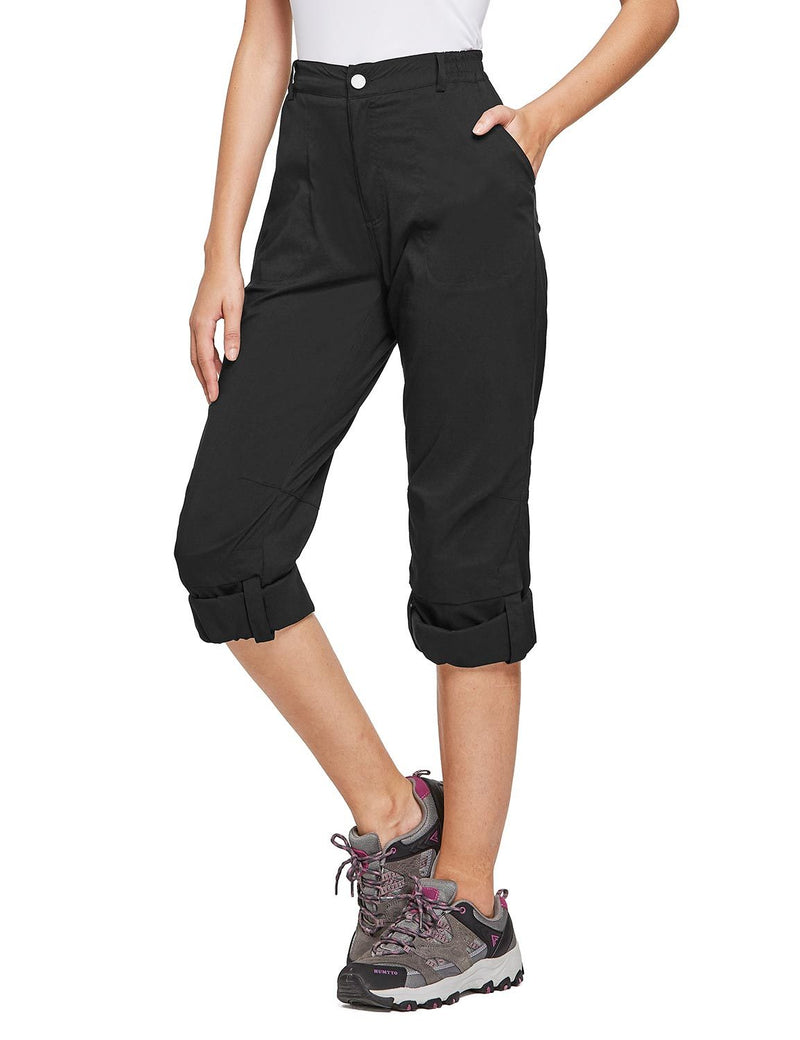 Baleaf Women's UPF 50+ Waterproof Lightweight Roll Up Outdoor Pants Black Side