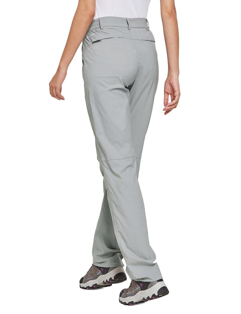 Baleaf Women's UPF 50+ Waterproof Lightweight Roll Up Outdoor Pants Gray Back