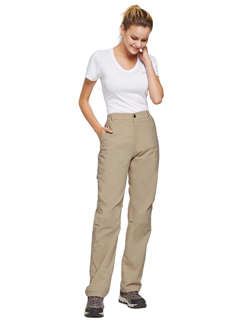 Baleaf Women's UPF 50+ Waterproof Lightweight Roll Up Outdoor Pants New Khaki full