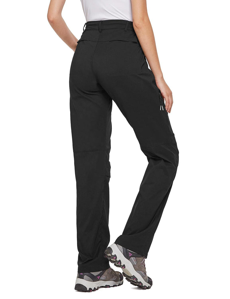 Baleaf Women's UPF 50+ Waterproof Lightweight Roll Up Outdoor Pants Black Back