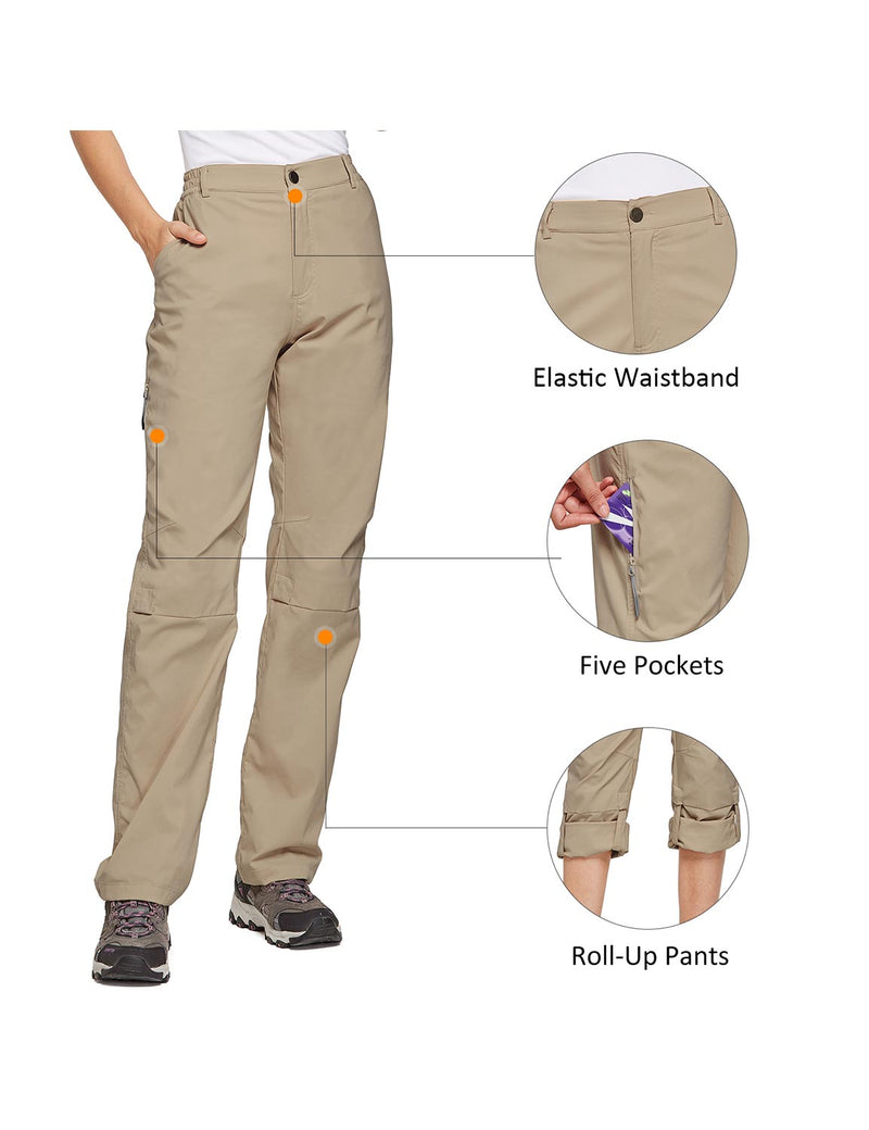 Baleaf Women's UPF 50+ Waterproof Lightweight Roll Up Outdoor Pants New Khaki details